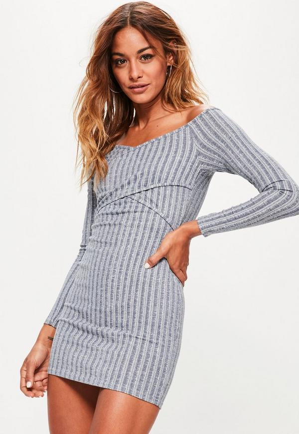 Blue Ribbed Wrap Over Bodycon Dress