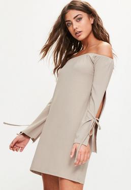 Szara sukienka bardot z wiązaniami na rękawach