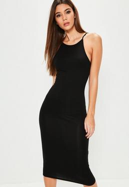 Black Racer Neck Midi Dress