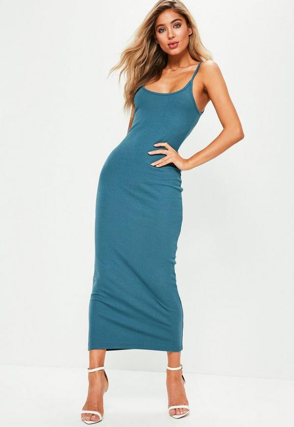 Blue Rib Strappy Midi Dress