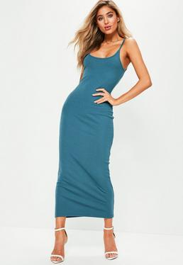 Blue Ribbed Strappy Midi Dress