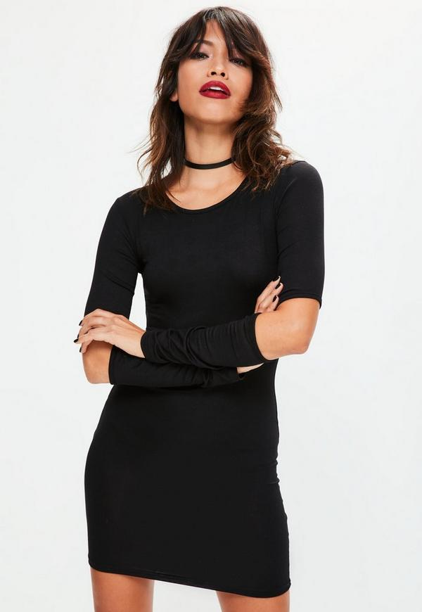 Black Slash Elbow Long Sleeve Bodycon Dress