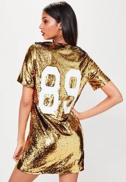 Pailletten-Kleid in Gold mit 89 Print