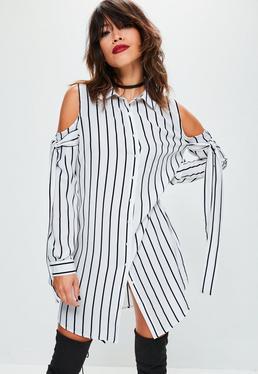 Gestreiftes Cold-Shoulder Hemdblusenkleid in Weiß