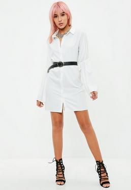 White Chunky Tie Sleeve Shirt Dress