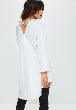 White Oversized Metal Ring Detail Shirt Dress