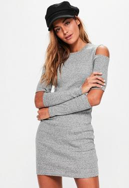 Grey Ribbed Cold Elbow Bodycon Dress