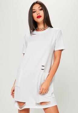Distressed Fetzen-T-Shirt mit Vordertaschen in Weiß