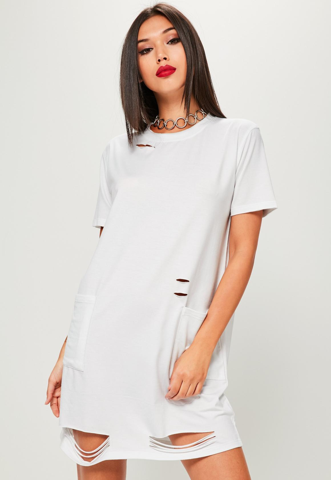 White Distressed Pocket T-Shirt Dress | Missguided