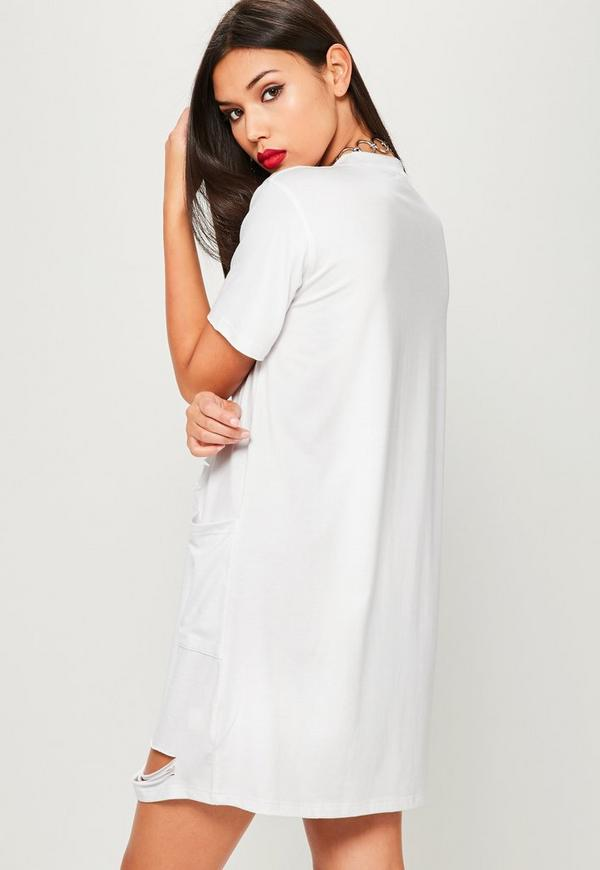 White distressed pocket t shirt dress missguided for Dress shirt no pocket