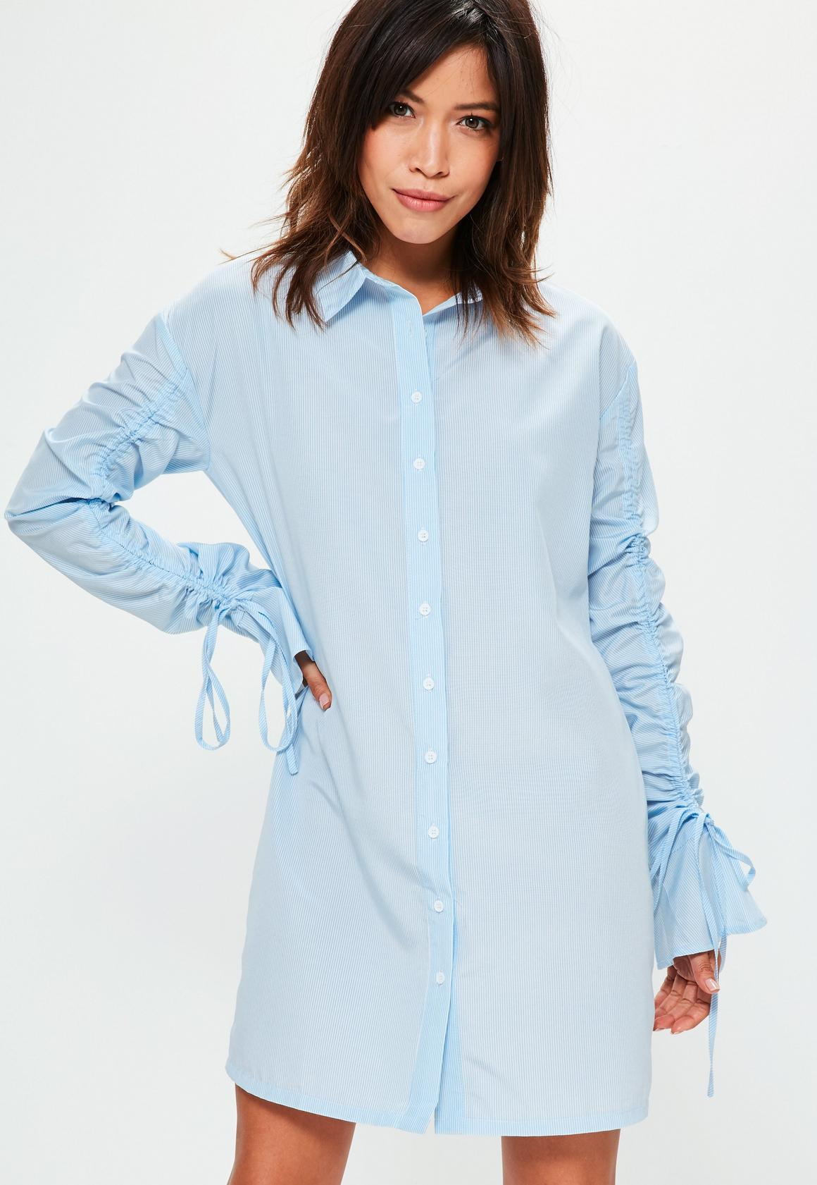 Blue Striped Gathered Sleeve Shirt Dress | Missguided