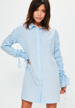 Blue Striped Gathered Sleeve Shirt Dress
