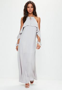 Grey Ruffle Sleeve Maxi Dress