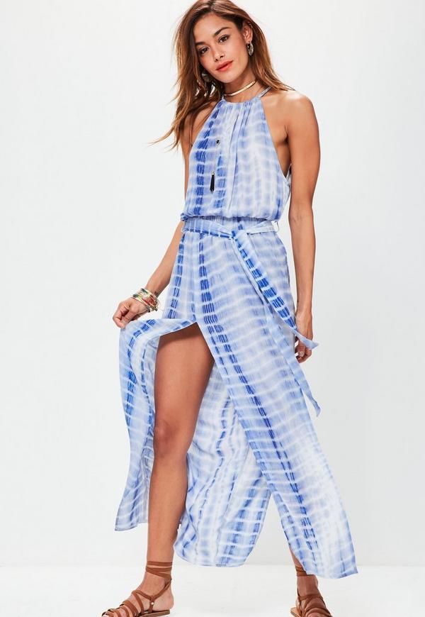 Blue Tie Dye Print Cheesecloth Maxi Dress