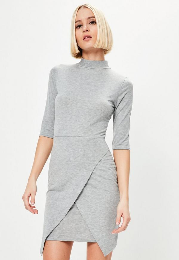 Grey Wrap High Neck Dress