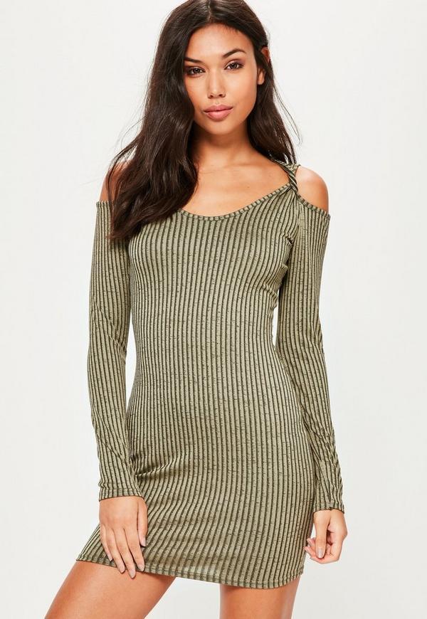 Green Rib Twist Shoulder Detail Bodycon Dress