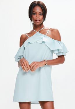 Niebieska luźna sukienka z wyciętymi ramionami