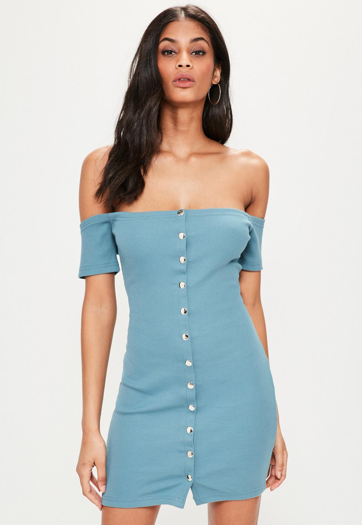 Blue Stud Popper Detail Bardot Bodycon Dress | Missguided