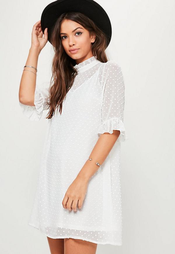 White Oversized Dobby Frill Sleeve Dress