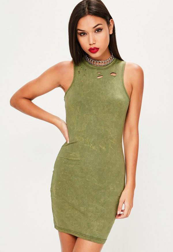 Green Wash Racer Neck Bodycon Dress