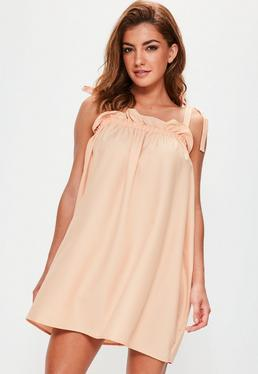 Peach Tie Detail Scrunch Top Shift Dress