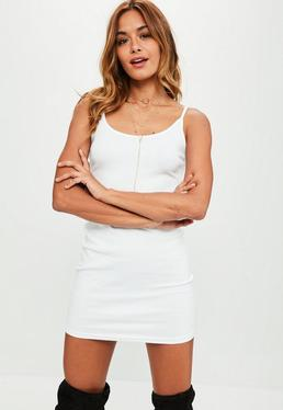 White Strappy Ribbed Mini Dress