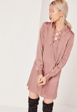 Pink Lace Up Front Shift Dress