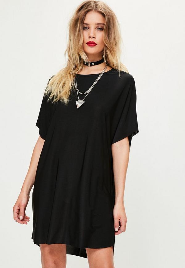 Black Oversized Slinky Dress
