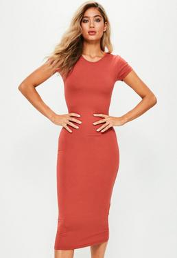 Figurbetontes Kurzarm-Midi-Kleid in Orange