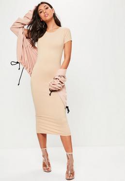 Beżowa sukienka midi z krótkimi rękawami