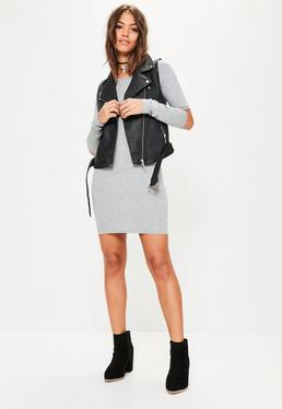 Grey Slash Elbow Long Sleeve Bodycon Dress