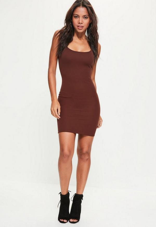 Brown Strappy Cami Dress