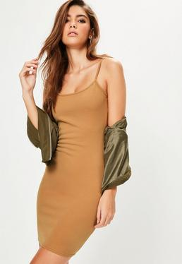 Camel Strappy Cami Dress