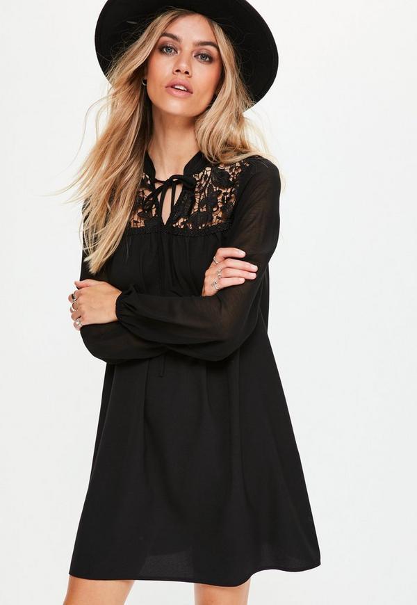 Black Lace Detail Swing Dress
