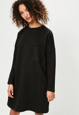 Black Ribbed Pocket Jumper Dress