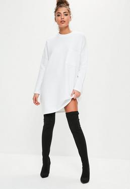 White Ribbed Pocket Jumper Dress