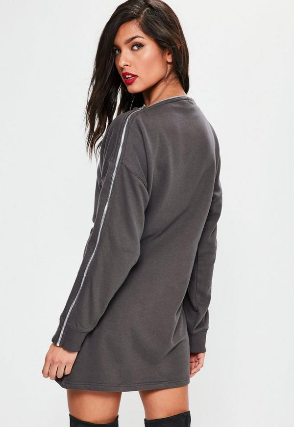 Grey Zip Bardot Long Sleeve Sweater Dress