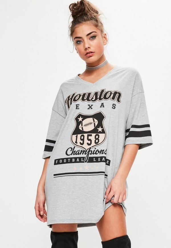 Kurzarm Jersey Shirtkleid mit Houston Champions Grafik in Grau ...