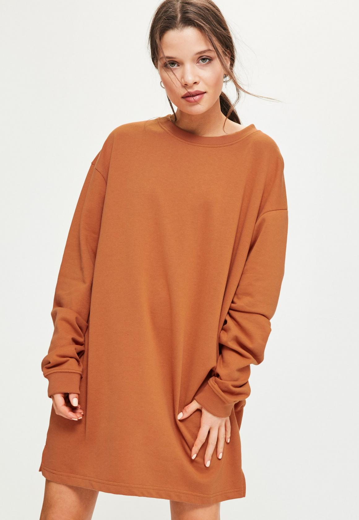 Orange Oversized Sweater Dress | Missguided