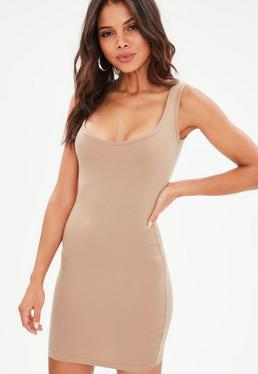 Camel Square Neck Bodycon Mini Dress