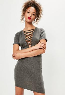 Grey Short Sleeve Lace Up Front Bodycon Dress