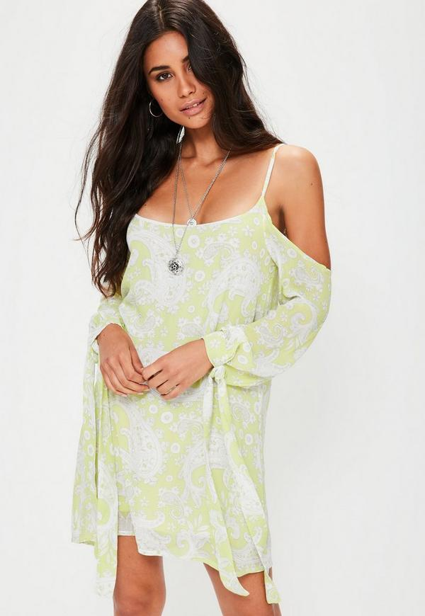 Green Paisley Print Cold Shoulder Shift Dress
