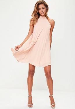 Nude Halterneck Pleated Swing Dress