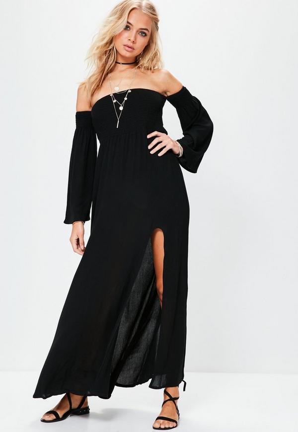 Black Shirring Top Split Maxi Dress