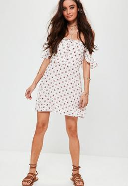 White Rose Print Button Bardot Dress
