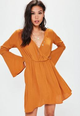 Orange Cheesecloth Waisted Flared Sleeve Dress