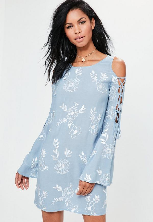 Blue Embroidered Lace Up Sleeve Swing Dress