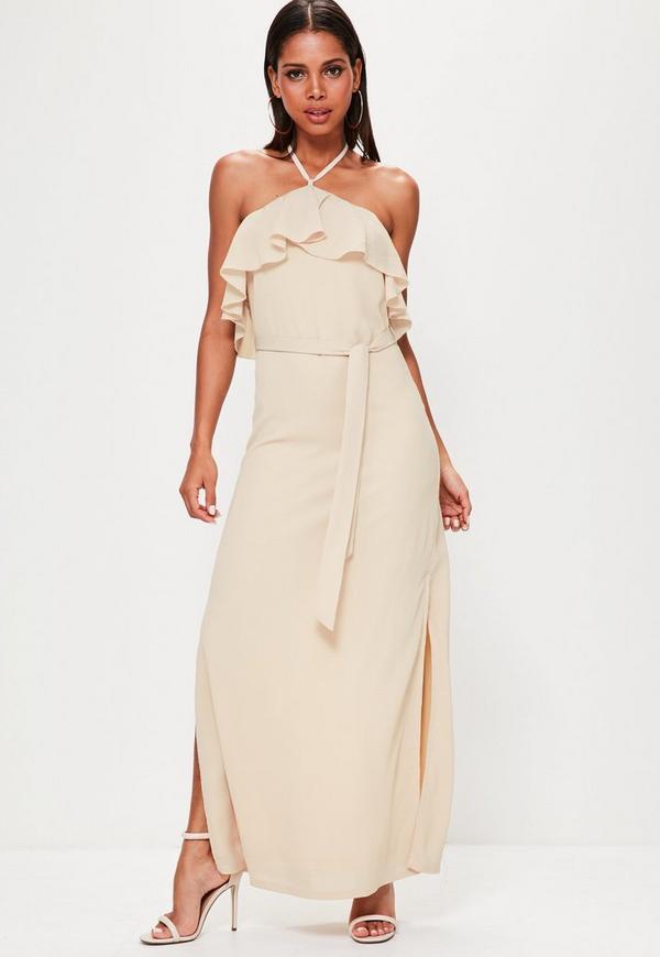 Nude Halterneck Bardot Tie Waist Maxi Dress