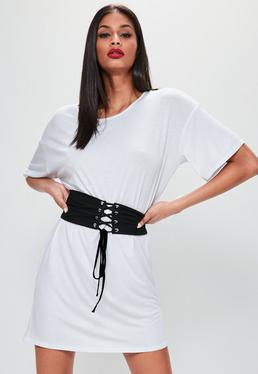 White Oversized Corset Belt T-Shirt Dress