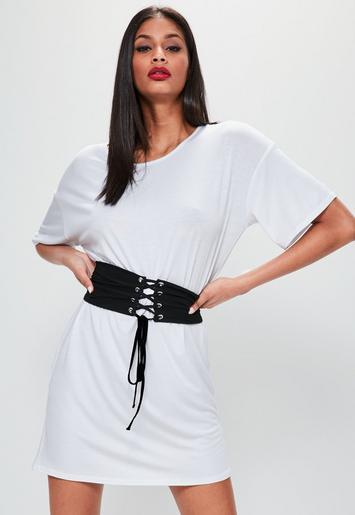 White Oversized Corset Belt T-Shirt Dress | Missguided Ireland
